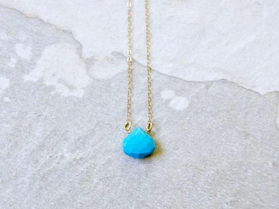 14K Solid Gold : Turquoise Necklace