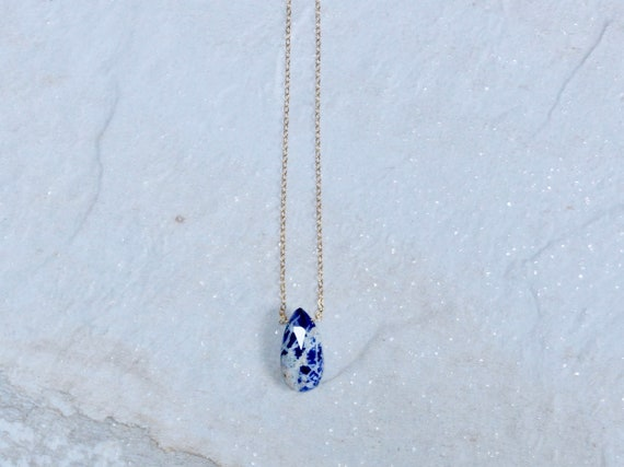 14K Solid Gold : Sodalite Necklace