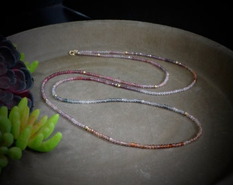 """14K Solid Gold: 34"""" Ombre Pink Tourmaline Beaded Long Necklace, Simple Layering Chakra Long Necklace, Fine Jewelry"""