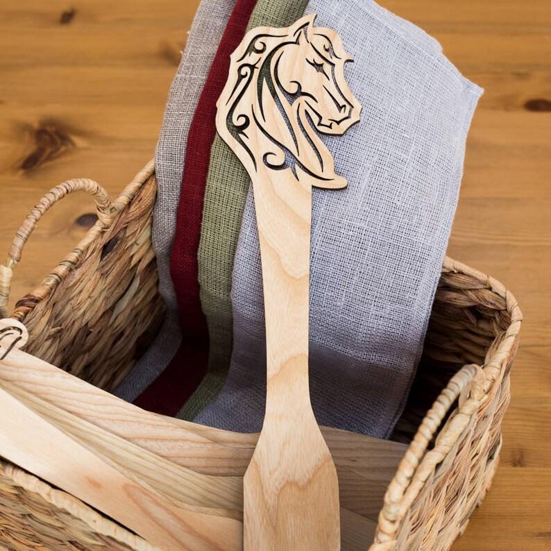Wooden gift Wooden spatula Kitchen utensils gift Wooden utensils Kitchen tools Engraved Spatula Horse Wooden Spatula