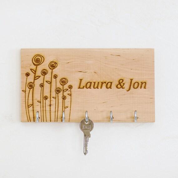 Personalised Key Holder Flowers Wooden Key Holder Entryway Etsy