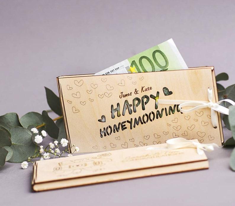 Personalised Honeymoon Wooden Money Gift Envelopes Cash Gift Etsy