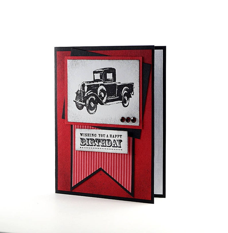 Handmade Happy Birthday Card Embossed Masculine  Using Stampin Up Car Truck