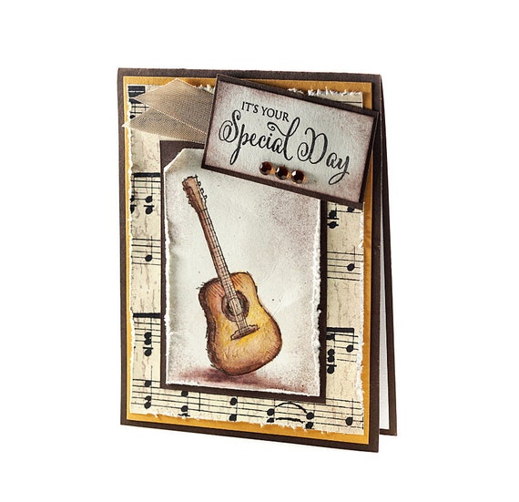 Music Birthday Card Happy Birthday Gift Idea Guitar Etsy