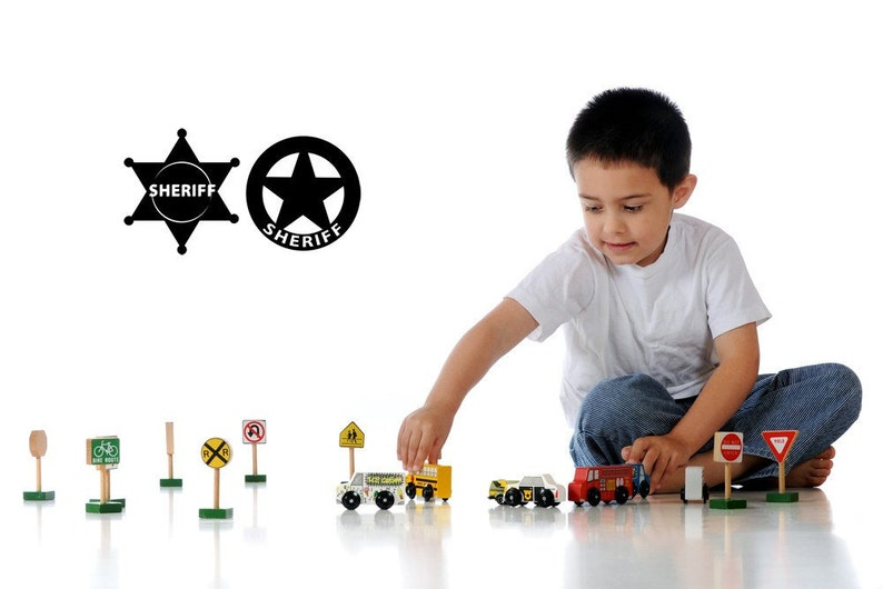 West Decal Vinyl Cowboy Badges PD Childrens Room Decor Sherrif Sheriff Wall Sticker Police Star Home Badge Lot of 2 Western