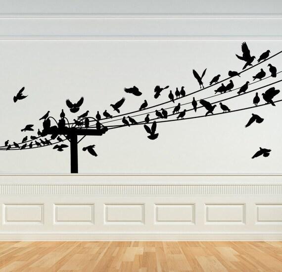 Bird Decal Birds on a Wire Wall Art Bird Decor Birds on   Etsy