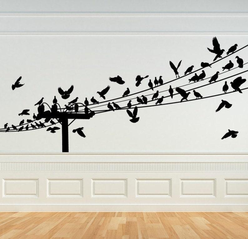 bird decal birds on a wire wall art bird decor birds on | etsy
