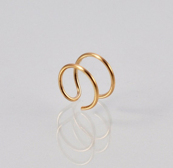 Fake Double Nose Ring Faux Double Piercing Double Hoop Etsy