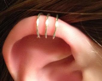 Triple Ear cuff - 3 ring ear cuff - helix ear cuff - triple earcuff - ear cuff - ear cuffs -earcuff