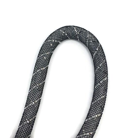MESH PLASTIC NET TUBING BLACK SILVER 2 MTRS x 8mm crafts jewellery making