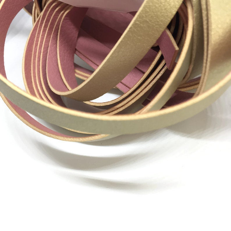 Double Side Strap Lace Gold Pink Flat Leather Cord Pink Gold PU Synthetic Leather Flat Cord Strap Licorice Bracelet 8inch  20cm S 40 255