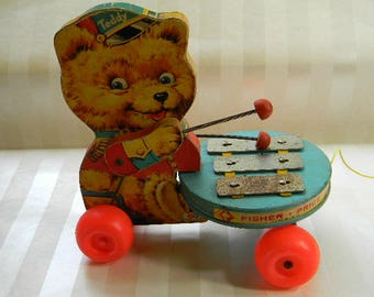 Vintage Fisher Price TEDDY Pull Toy