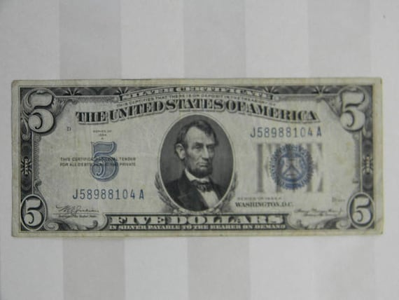 SILVER CERTIFICATE 5 Dollar Note 1934A U.S. Currency