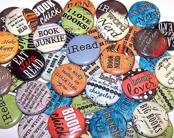 """Book Lover Pins (10 Pack), Reading Pinback Buttons, Books Party Favors, 1"""" or 1.5"""" or 2.25"""" Pin Back Buttons or Magnets, Book Club, Read"""