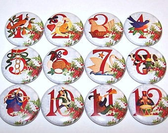 12 days of christmas pins 12 pack twelve days of christmas pinback buttons holiday pins 1 or 15 or 225 pin back button or magnets
