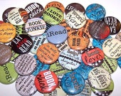 Book Lover Pins (10 Pack), Reading Pinback Buttons, Books Party Favors, 1 quot or 1.5 quot or 2.25 quot Pin Back Buttons or Magnets, Book Club, Read