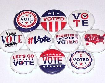 """Voting Pins (10 Pack) I Voted Election Buttons Party Favors Pins 1"""" or 1.5"""" or 2.25"""" Pinback Buttons or Magnets, Vote, Voter, Patriotic Pin"""