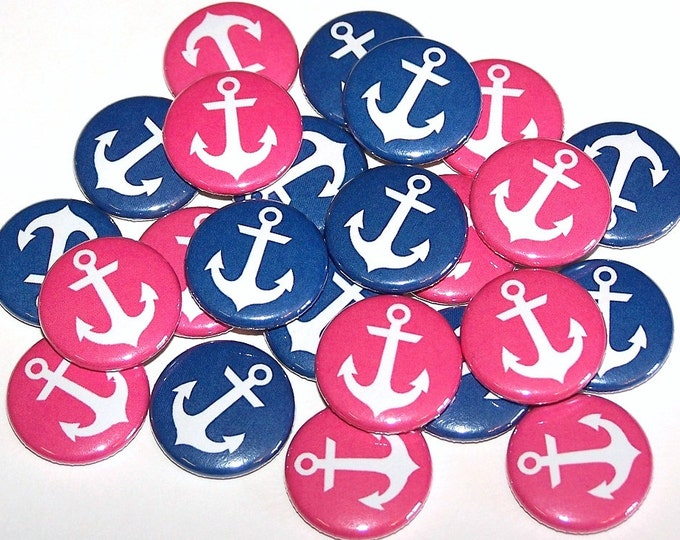 20 Pack Nautical Anchors Gender Reveal Party Buttons Baby Shower Favor 1 or 1.5 or 2.25 Pin Back Button Pink Blue Magnets