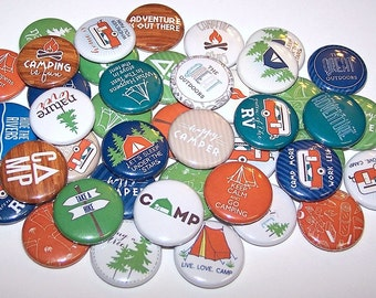 """Happy Camper Great Outdoors Party Favor Set of 10 Buttons 1"""" or 1.5"""" Pin Back Buttons or 1"""" Magnets Camping Buttons"""