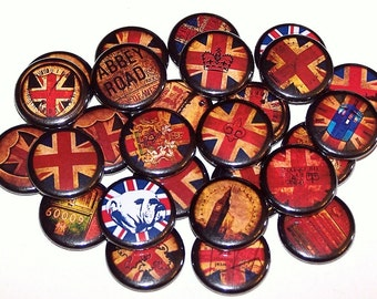 "British Themed Party Favors Set of 10 Buttons 1"" or 1.5"" Pin Back Buttons or 1"" Magnets London England"