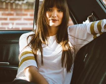 Eco-friendly Classic 70's Inspired Raglan Striped Football Tee By SALT AND SOL | Handmade Sustainable Apparel for the Dazed & Confused