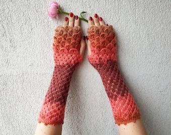 638ebd520 Fingerless Gloves Crochet Shell Trim Knit arm warmers romantic lace  fingerless gloves gift for her Fall Mittens Womens Gloves Wrist Warmers