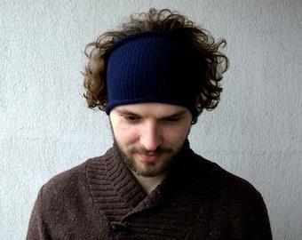Knitted Mens Headband Guys knit hair wrap - Blue color Unisex Adults Dread band dreadlocks accessory