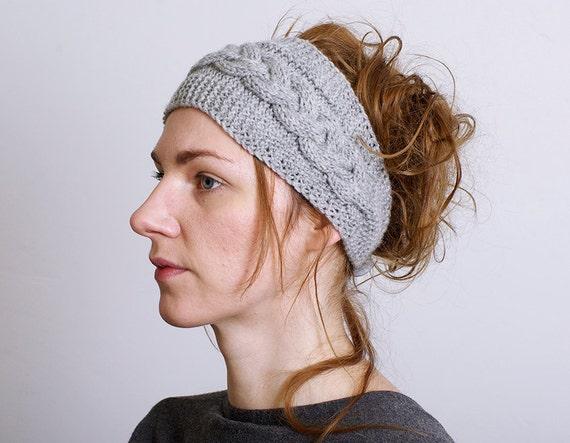 Stirnband gestrickt stricken Kabel Knopf Verschluss Haar Band | Etsy