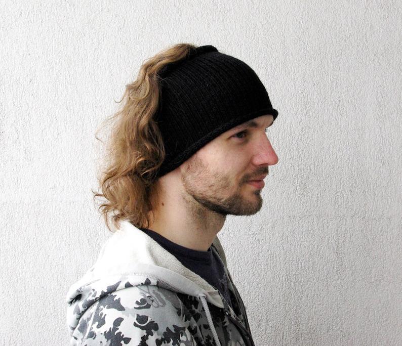 Knitted Mens Headband Guys knit hair wrap Black Unisex  fb598787310