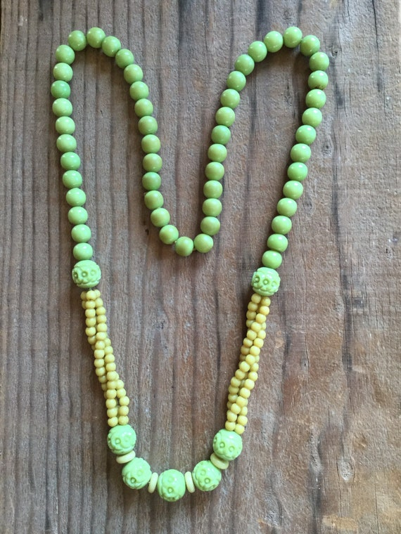 1930s Art Deco Green Carved Celluloid Necklace