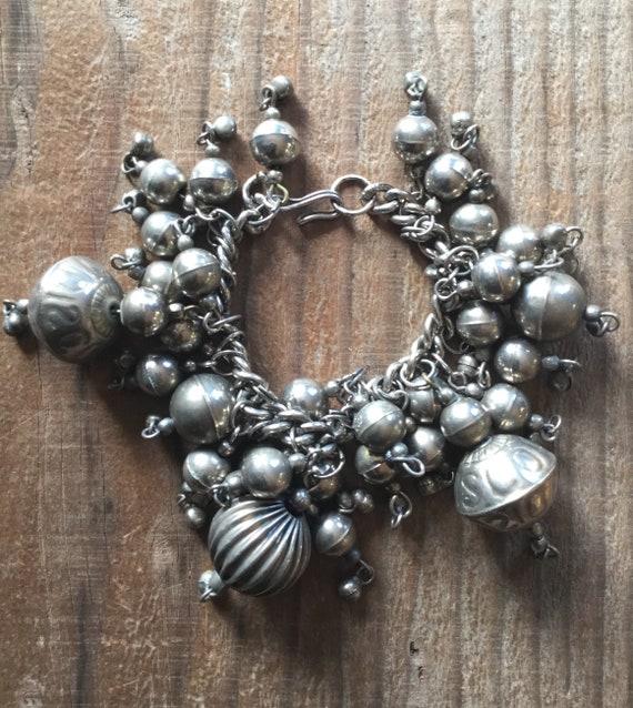 Mid Century Silver Metal Bulb Bracelet