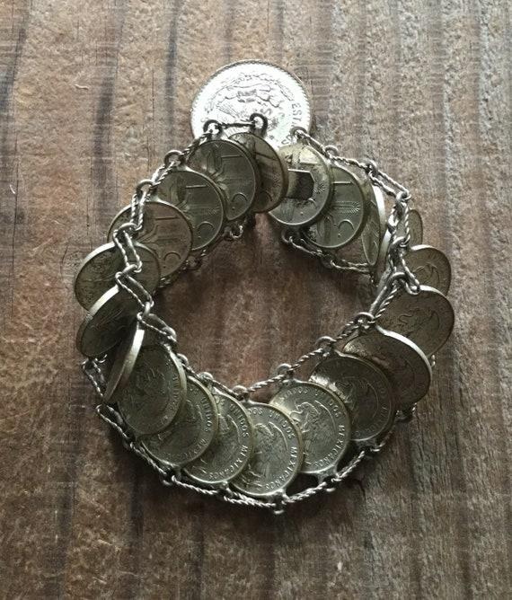 Mid Century Mexican Peso Souvenir Bracelet