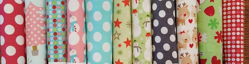 Fat Quarter Set of 11 Christmas Dots Reindeer Stars Snowmen Aqua Grey Blue Red Fat Quarter Bundle #11