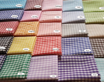 """1/8"""" Gingham 100% Cotton Choose your Color FQ Half Yard Quarter Yard Woven  HTFFGG"""