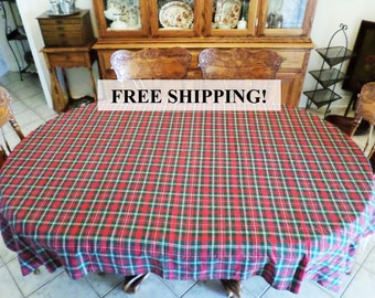 Tablecloth Christmas Hunter Plaid Red Green Cotton Holiday 56 x 76 Free Shipping!