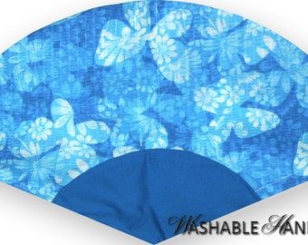 Washable Hand Fan Traditional Turquoise Plisse Butterflies