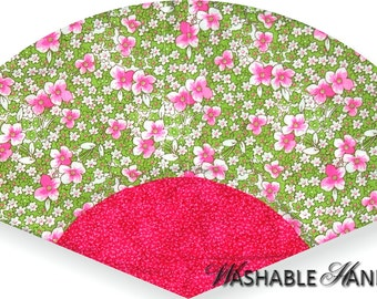 Washable Hand Fan Traditional  Small Pink & Green Flowers