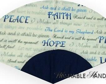 Washable Church Hand Fan Traditional Blue Words of Faith