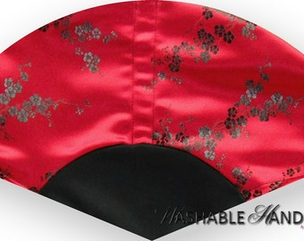 Washable Hand Fan Traditional Black & Red Brocade