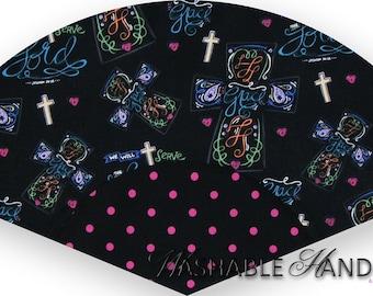 Washable Hand Fan Traditional Joshua 24:15 Multicolor Crosses on Black