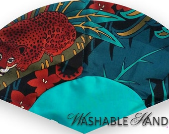 Washable Hand Held Fan Cheetah(f) and Tiger(b) in Black & Teals - Traditional Style
