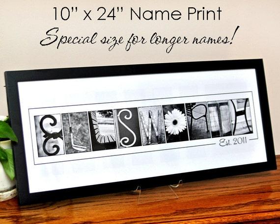 Custom LAST NAME Alphabet Photography 10x24 Print Special | Etsy
