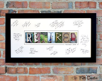 RETIREMENT PARTY Signing Print with Free Personalized Text, FRAMED alphabet photography sign, Corporate Retirement, Retired Gift