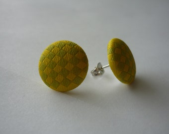 Green and Yellow Checkered Fabric Earrings