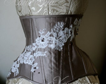 "22"" Taupe Underbust Corset with Lace and Crystals"