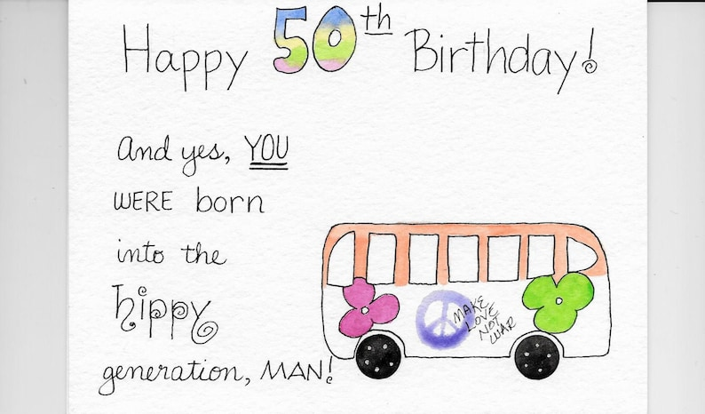 Funny 50th Birthday Card PERSONALIZED For FREE Hippy