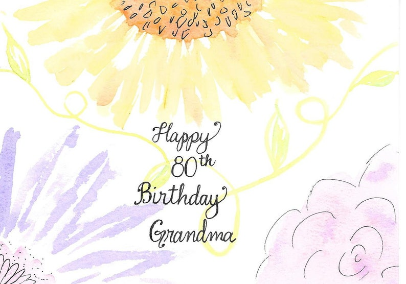 80th Birthday Card For Grandma Or PERSONALIZED FREE With A