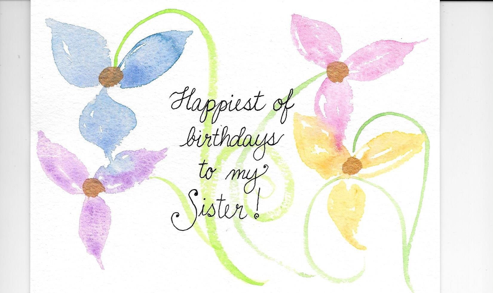 Sister Birthday Card Personalized For Free With A Name Etsy