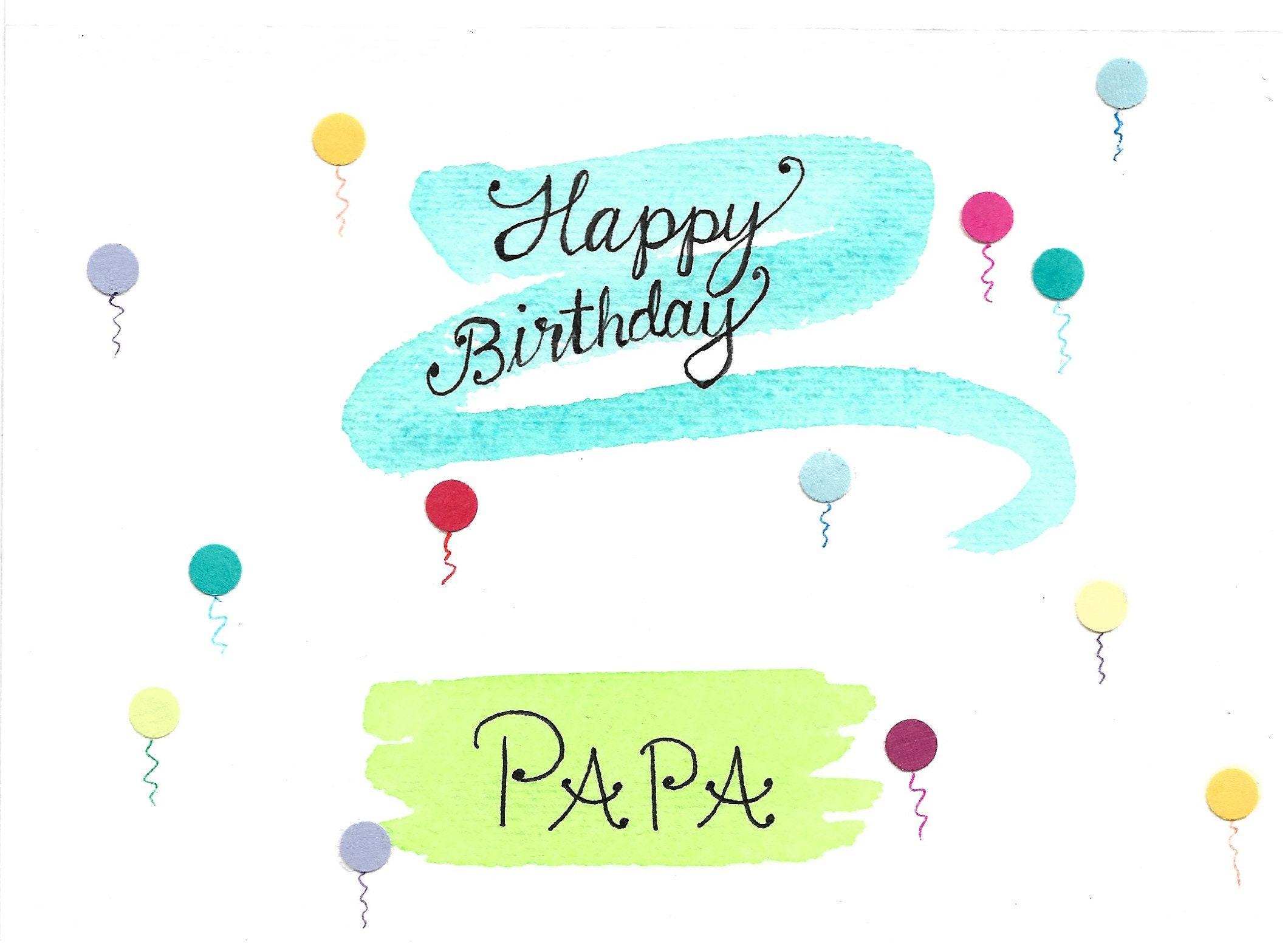 Papa Birthday Card Balloons Happy Birthday Papa Card With A Etsy