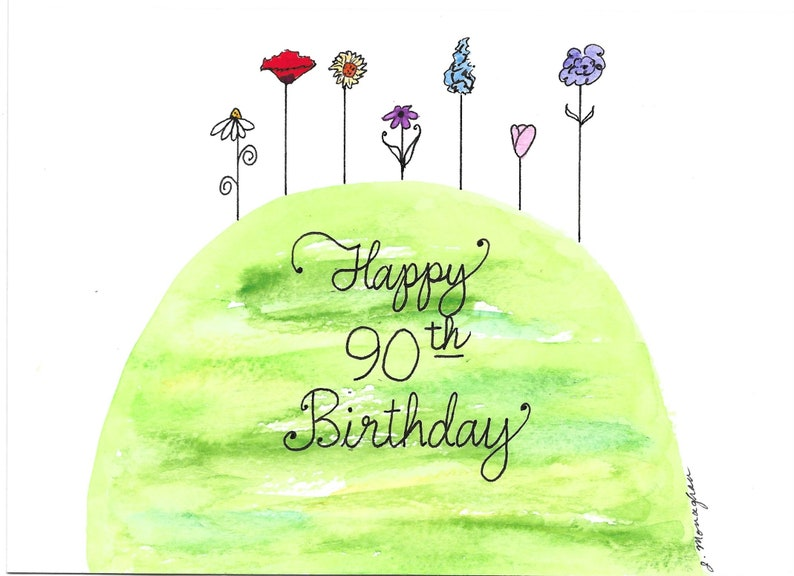 90th Birthday Card PERSONALIZED FOR FREE With A Name On The